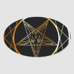 Golden sigil of Baphomet Oval Sticker