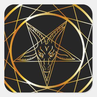 Golden sigil of Baphomet Square Sticker