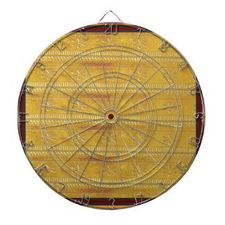 Golden Silk Fabric Template DIY add GREETING PHOTO Dart Boards