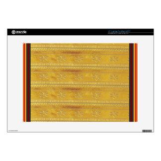 "Golden Silk Fabric Template DIY add GREETING PHOTO Skin For 15"" Laptop"