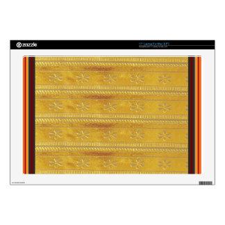 "Golden Silk Fabric Template DIY add GREETING PHOTO Skin For 17"" Laptop"