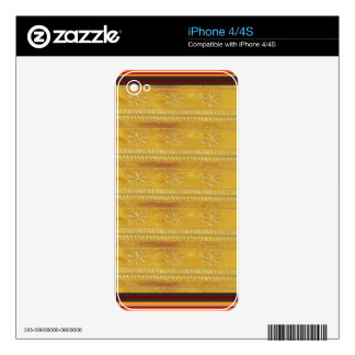 Golden Silk Fabric Template DIY add GREETING PHOTO Skins For iPhone 4