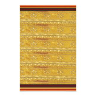 Golden Silk Fabric Template DIY add GREETING PHOTO Stationery