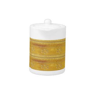 Golden Silk Fabric Template DIY add GREETING PHOTO Teapot