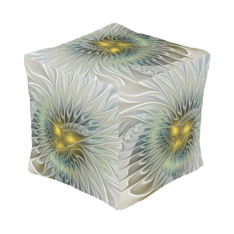 Golden Silver Flower Fantasy abstract Fractal Art Pouf