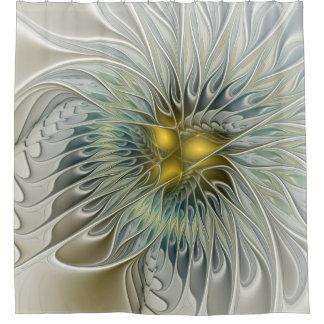 Golden Silver Flower Fantasy abstract Fractal Art Shower Curtain