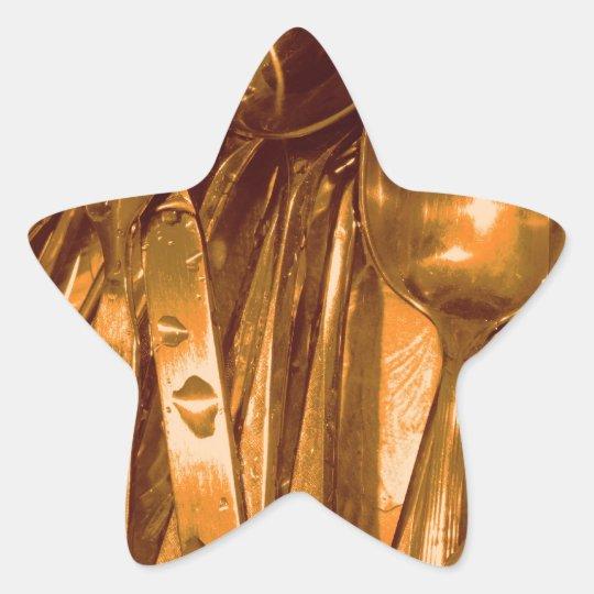 Golden Silverware Medley Star Sticker