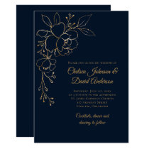 Golden Sketched Roses on Dark Blue Wedding Invitation