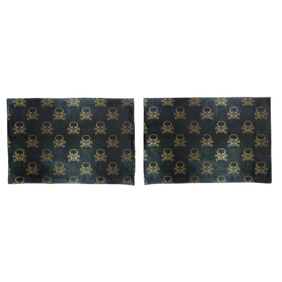 Golden Skull & Crossbones Pillowcases