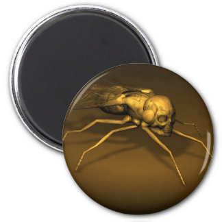 Golden Skull Fly 2 Inch Round Magnet