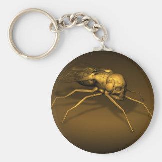 Golden Skull Fly Basic Round Button Keychain