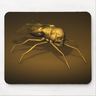 Golden Skull Fly Mouse Pad