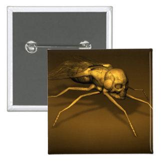 Golden Skull Fly Pinback Button