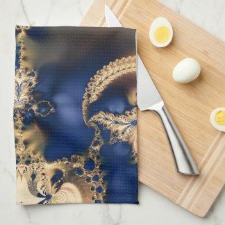 Golden Skull Fractal Design Hand Towels
