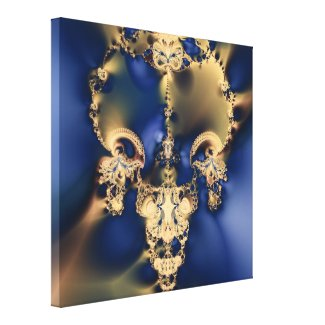 Golden Skull Fractal Wrapped Canvas Print