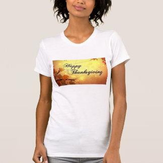 Golden Sky and Leaves Happy Thanksgiving T-Shirt