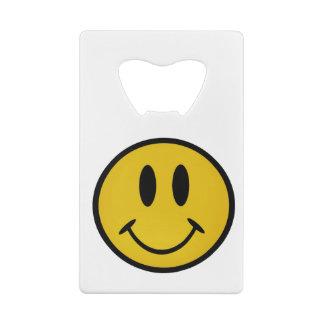 Golden smiley face credit card bottle opener