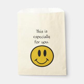 Golden smiley face cute favor bag