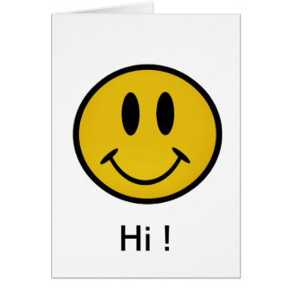 Golden smiley face greeting card