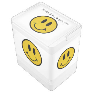 Golden smiley face igloo can cooler