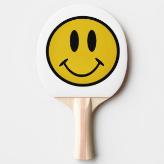 Golden smiley face ping pong paddle