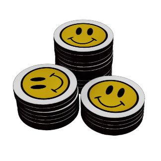 Golden smiley face poker chips