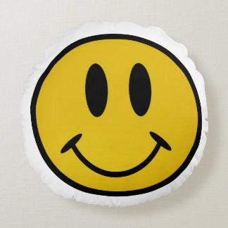 Golden smiley face round pillow