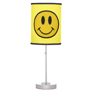 Golden smiley face table lamp