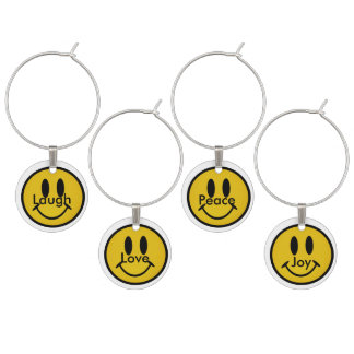 Golden smiley face wine charm