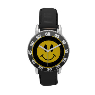 Golden smiley face wristwatch