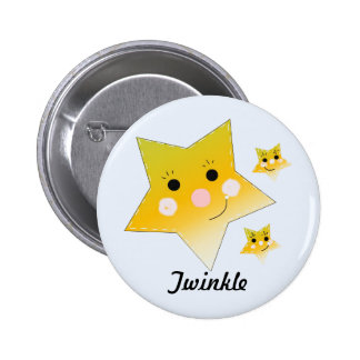 Golden Smiley Stars - Twinkle Pinback Button