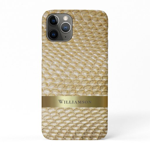 Golden Snakeskin Digital Leather Gold Metal iPhone 11 Pro Case