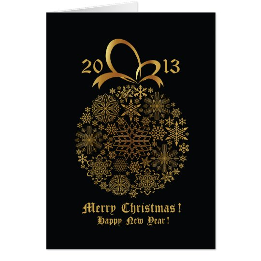 Golden Snowflake Christmas Ball Greeting Card #10