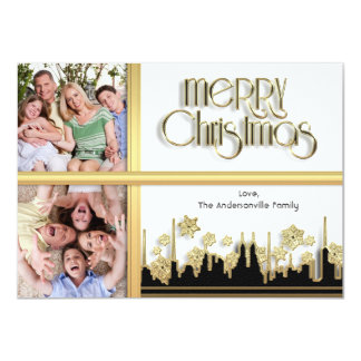 Golden Snowflake Christmas Photo Card Announcement