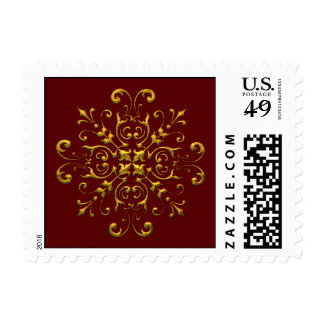 Golden Snowflake Holiday Postage Stamps