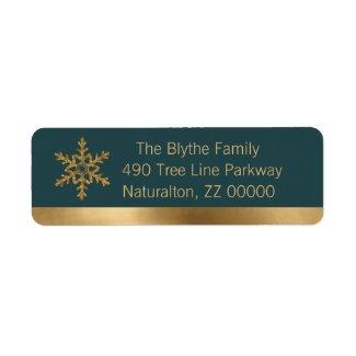 Golden Snowflake on Fir Green Return Address Label