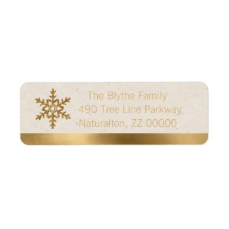 Golden Snowflake on Natural Flecked Label