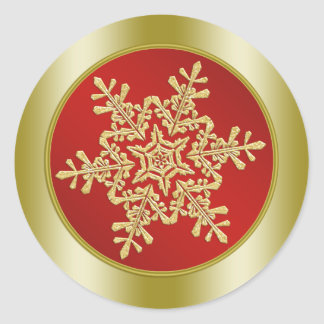 Golden Snowflake on red Christmas Round Stickers