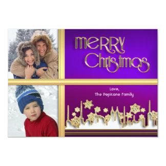 Golden Snowflake Purple Cityscape Photo Xmas Card Announcements