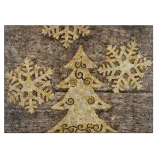 Golden Snowflakes and Christmas Tree Cutting Board