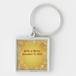 Golden Snowflakes Bride & Groom Keychain