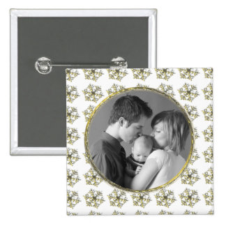 Golden Snowflakes 2 Inch Square Button