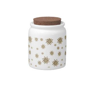 Golden snowflakes candy jar