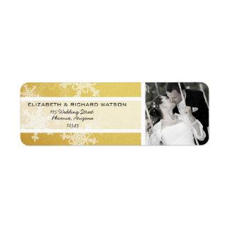 Golden Snowflakes Christmas Wedding Label