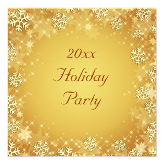 Golden Snowflakes Holiday Party Invitation