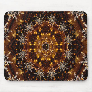 Golden Snowflakes Kaleidoscope Mouse Pad