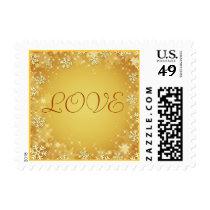Golden Snowflakes Love Stamp
