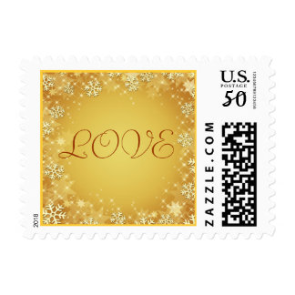 Golden Snowflakes Love Stamp