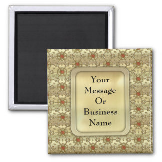 Golden Snowflakes 2 Inch Square Magnet