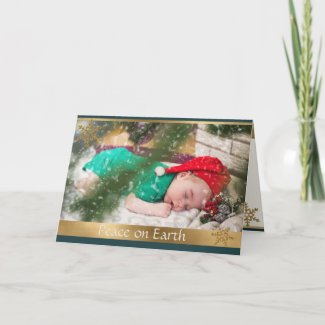 Golden Snowflakes Personalized Photo Greeting Card